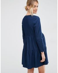 ASOS | Denim Smock Dress In Darkwash Blue | Lyst