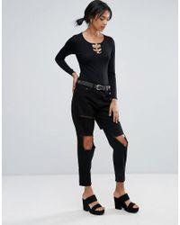 Daisy Street - Black Bodysuit With Ring Detail - Lyst