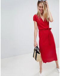 51c7e630e3 Bershka Plisse Wrap Dress in Red - Lyst