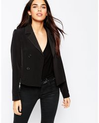 ASOS | Cropped Double Breasted Blazer - Black | Lyst