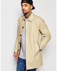 ASOS | Natural Single Breasted Trench Coat With Shower Resistance In Stone for Men | Lyst