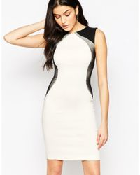 Vesper - White Crystal Bodycon Dress With Contrast Side Panels - Lyst