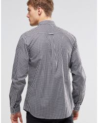 Pretty Green Black Ebsworth Gingham Shirt for men