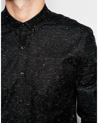 ASOS - Black Oxford Shirt With Neps In Regular Fit for Men - Lyst