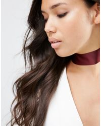 ASOS - Brown Wide Satin Choker Necklace - Lyst