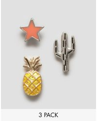 ASOS - Metallic Pack Of 3 Novelty Mini Badge Set - Lyst