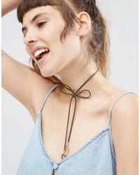 ASOS - Green Bow Choker Leaf Necklace - Lyst