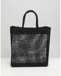 South Beach - Black Woven Straw Shopper Bag - Lyst