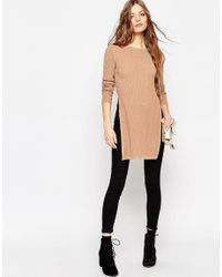 ASOS - Multicolor Longline Tunic In Metallic Rib With Side Splits - Lyst