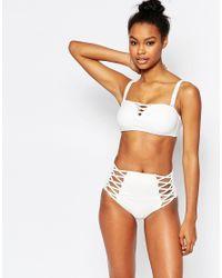 Wolf & Whistle - White Lattice Bandeau Bikini Top B/c - E/f Cup - Lyst