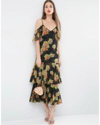 ASOS Green Premium Maxi Dress With Frill Hem And Cold Shoulder In Floral Print