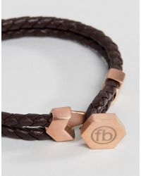 Fred Bennett - Brown Leather Bracelet With Button Opening for Men - Lyst
