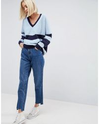 ASOS - Blue Chevron Knit Jumper - Lyst