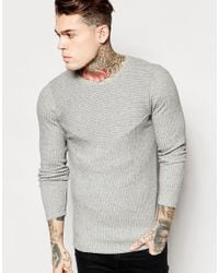 ASOS | Gray Muscle Longline Long Sleeve T-shirt With Cut & Sew Panels for Men | Lyst