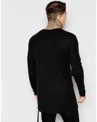ASOS - Black Wool Mix Jersey Longline Long Sleeve T-shirt With Drawstring Hem Detail for Men - Lyst
