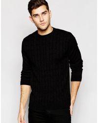 ASOS | Cable Knit Jumper In Black for Men | Lyst