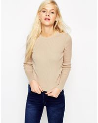 ASOS | Natural Jumper In Rib With Crew Neck | Lyst
