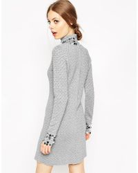 ASOS | Mini Dress In Metallic Pattern Knit With Sequin Detail | Lyst