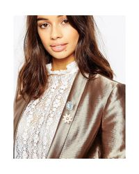 ASOS - Metallic Pack Of 2 Crystal Brooches - Lyst
