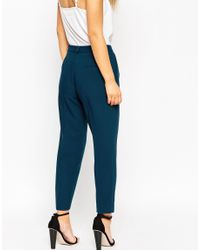 ASOS - Blue Petite Cigarette Trouser In Crepe - Lyst
