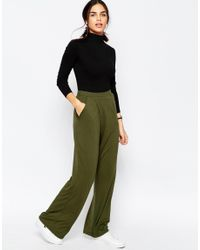 ASOS | Green Jersey Wide Leg Trousers With Wrap Front | Lyst