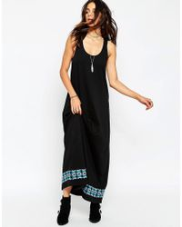ASOS | Black Swing Maxi Dress With Embroidered Tape Trim | Lyst