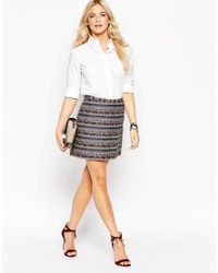 Oasis - Multicolor Jacquard Mini Skirt - Lyst
