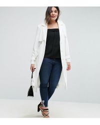 ASOS | White Mac In Structured Crepe With Oversized Pockets | Lyst