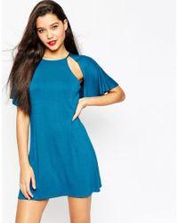 ASOS | Blue Flutter Cape Shift Mini Dress | Lyst