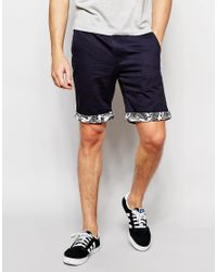 D-Struct - Blue Hawaiian Turn Up Shorts for Men - Lyst