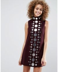 ASOS   Red Mirror Column Mini Shift Dress   Lyst