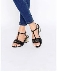 London Rebel - Black T Bar Mid Heeled Sandals - Lyst