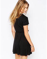 Glamorous | Black Wrap Front Tea Dress | Lyst