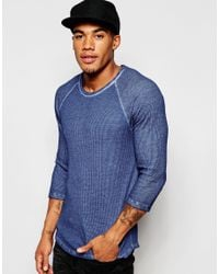 ASOS | Waffle Jersey Extreme Muscle 3/4 Sleeve T-shirt With Oil Wash In Blue for Men | Lyst