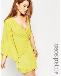 ASOS | Green Asymmetric One Shoulder Wrap Mini Dress | Lyst