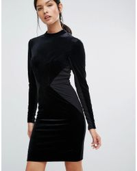Y.A.S   Black Luvy Velvet Bodycon Dress With Jersey Panels   Lyst