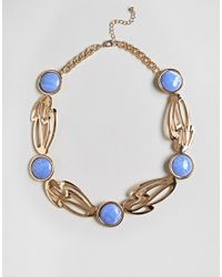 ASOS - Metallic Statement Abstract Cut Out Stone Detail Necklace - Lyst