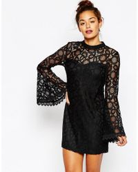 Missguided | Black Bell Sleeve Lace Dress | Lyst