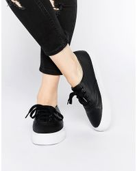 ASOS - Black Dixie Lace Up Trainers - Lyst