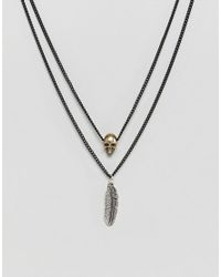 Icon Brand - Matte Black Necklace With Gold & Silver Charms for Men - Lyst