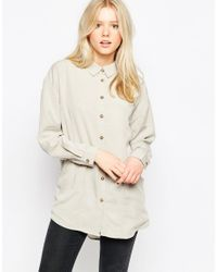 Native Youth - Gray Oversized Tencel Shirt - Lyst