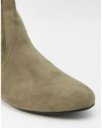 Daisy Street - Green Khaki Over The Knee Tie Back Flat Boots - Lyst
