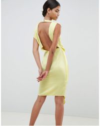 ASOS - Yellow Satin Drape Midi Dress With Sash Detail - Lyst