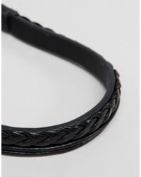 Jack & Jones | Plaited Leather Bracelet In Black for Men | Lyst