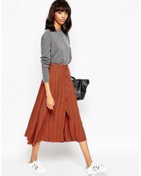 ASOS   Orange Midi Skirt With Button Through In Self Stripe   Lyst