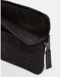 ASOS | Black Leather Zip Around Wallet With Embossed Suede for Men | Lyst
