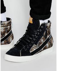 DIESEL | Black D-string Printed Trainers for Men | Lyst