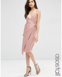 ASOS | Pink Double Strap Wrap Midi Dress | Lyst