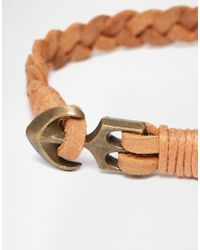 ASOS - Brown Leather Bracelet In Tan With Anchor Fastening - Lyst
