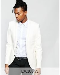 Noak | White Jersey Blazer In Super Skinny Fit for Men | Lyst
